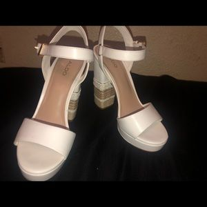 White Aldo high heels